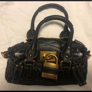 Chloe Leather Paddington Satchel - black gold